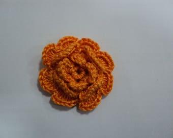 SET of 10 flowers ORANGES to CROCHET for EMBELISSEMENT ref: z37