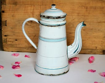 Vintage French Enamel Coffee Pot with Embossed Spout - White and Turquoise Coffee Biggin with Filter-  Shabby Chic Country Style