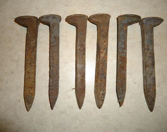 6 old railroad spikes for blacksmithing or collect
