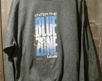 Vintage Enter the Blue Zone Labatt's Blue Sweat shirt 1988