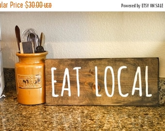 50% OFF - Eat Local - Dark Walnut and White 8 x 18 Wood Sign
