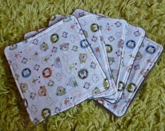 Set of 5, cotton and fleece wipes