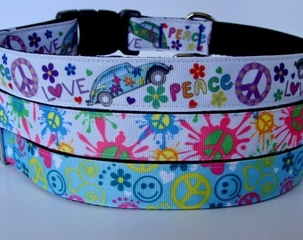 Hippie Dog Collar - Love and Peace, Neon Peace Sign, Groovy Smiley Face - Ready to Ship!