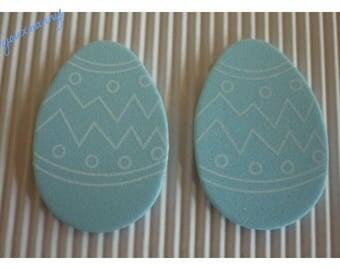Foam, blue Easter egg white geometric patterns, sold in packs of 2.