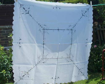 Vintage Cutwork and Embroidered Tablecloth