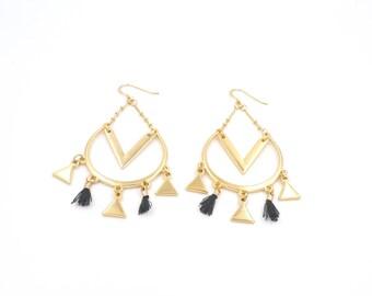 Ethnic earrings geometric triangles and tassels