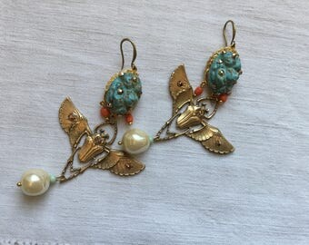 Reserved Claire, Vintage statement egyptian earrings, Cleopatra,   Art Nouveau stamping ,rhinestones, pearls, rare mountain turquoise cab