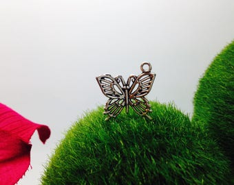 Pendant silver filigree Butterfly charm 2 x