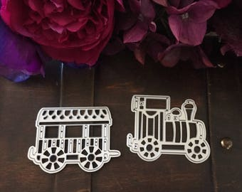 Cutting dies and embossing Model train engine and wagon