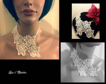 White lace wedding necklace * 3 lace *.