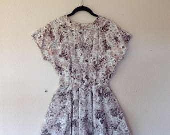 1950s Floral taffeta fit and flare dress
