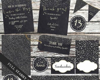 Under The Stars Party Printable Set Birthday Baby Shower Invites Tags Bunting
