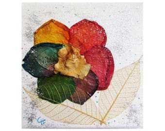 """Canvas """"Rainbow flower"""" with real petals of flowers, leaf natural fiber, silver powder, flower for Decoration"""