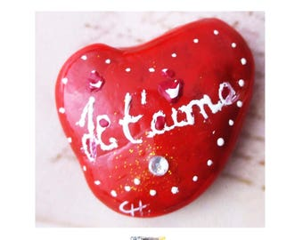 "Decorative Pebble shaped heart red coral and white ""I love you"" and rhinestone © Cathart, Clipboard"