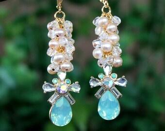 Mint Green Cluster Earrings.Freshwater Pearl.Opal Crystal.Jeweled.Statement.Bridal.Wedding.Formal.Long Earrings.Vintage.Luxury.Handmade.