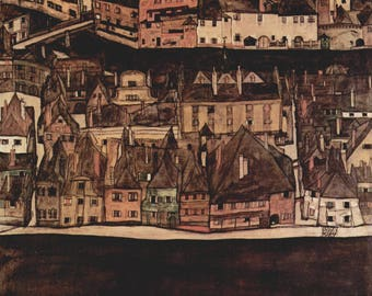 The Little City by Egon Schiele Home Decor Wall Decor Giclee Art Print Poster A4 A3 A2 Large FLAT RATE SHIPPING