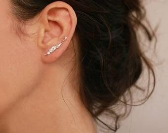 Gold ear cuff, silver Ear climber, Sterling silver or gold plated ear cuffs, flower ear climber, flower earrings,delicate leaves ear cuffs