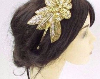 Gold Sequin Rose Headpiece 1920s Headband Fascinator Races Great Gatsby Vtg 4266