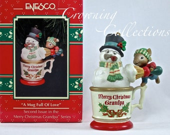 Enesco Mice A Mug Full of Love Treasury of Christmas Ornament Shaving Snowman Merry Christmas Grandpa M. Gilmore Designs Vintage Collection