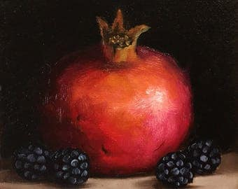 Pomegranate with blackberries #2 Original Oil Painting still life by Jane Palmer