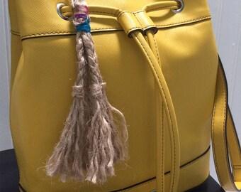 Braided Hemp Keychain Charm with Reclaimed Sari Silk Ribbon, Braided Hemp Bag Charm, Hemp Boho Keychain, Boho Bag Charm, Purse Accessory