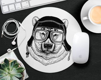 Polar Bear Mouse Pad Animal in Glasses Cute Mouse Mat Funny Mouse Pad Kids MousePad Hipster Mouse Mat Animal Lover Gift Cat Desk Accessories