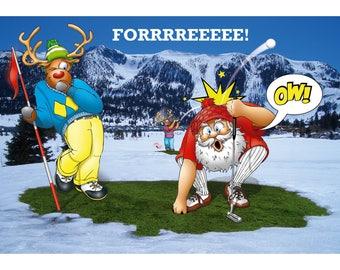 Golf Christmas card - Forrrreeee! Funny Christmas card - card for husband - card for boyfriend