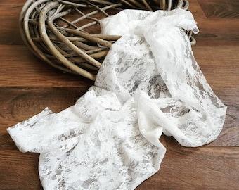 Lace Wrap, Stretch Wrap, White Wrap, Rose Wrap, Photo Prop, Photography Prop, Newborn Baby Prop, Newborn Photography