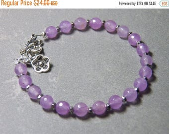 40% OFF Lilac Pink Quartz Gemstone Bracelet with Silver Toggle