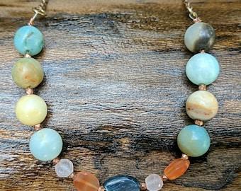 Assorted Precious Gemstone Bead Strand Copper Necklace