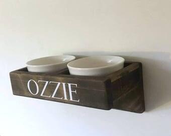 Wall Mounted Dog Feeder | Dog Bowls | Pet Feeding Station | Cat Bowls | Dog Feeder | Personalized Pet Bowls | Pet Gift | Elevated Pet Bowls