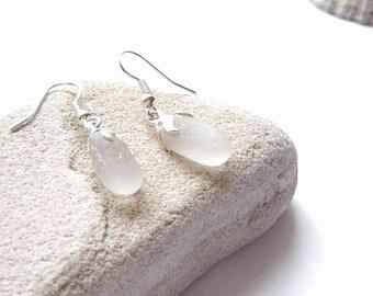 Sea Glass Earrings, White Drop Earrings in English Sea Glass, Seaglass Jewellery UK, Earrings Hand Made, Northumbrian, Gift for Wife, OOAK
