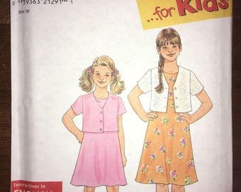 Uncut 1998 Vintage SIMPLICITY Sleeveless Dress Short Sleeve Jacket Blazer Pattern #8033 - Child Teen Size A 7-16