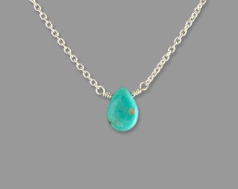 Turquoise Jewelry for Wife - Turquoise Jewelry for Girlfriend - Dainty Turquoise Necklace - Real Turquoise Necklace