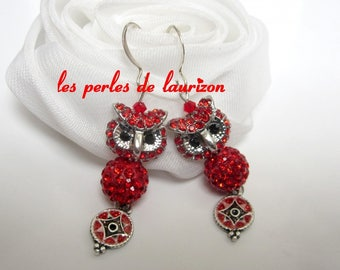 chic red OWL earrings
