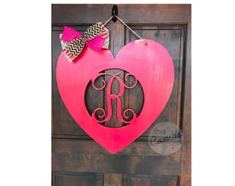 MONOGRAM HEART wood door hanger - sign - hand painted