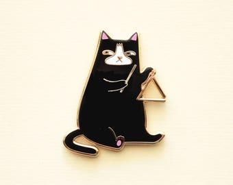 Triangle Cat Hard Enamel Pin - Black Tuxedo Cartoon Cat
