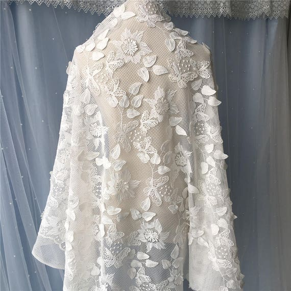 Ivory d floral embroidery lace fabric embroidered tulle