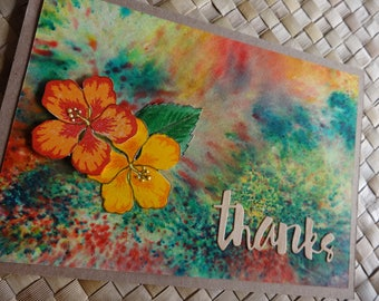 Tropical thank you card with hibiscus flowers v. 1