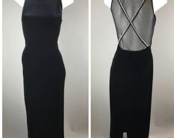Vintage 1990s Black Velvet Prom Dress Gown Rhinestone Trim Mesh Back Slit 10 Slinky
