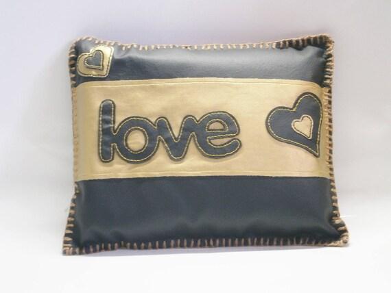 Original cushion Deco! LOVE! faux leather black and gold trim 29cm x 24cm belicious delicious creation