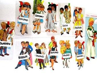Children Paper Dolls, Images from Different Lands for Collages  / Scrapbooking / Journal/Paper Ephemera / Scrap Pack Bundle