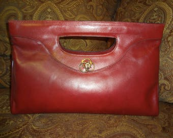 RARE Oxblood Leather Etienne Aigner Large Clutch