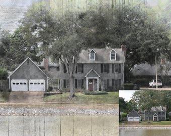Custom Digital Painting of your house, House Art, House digital painting,