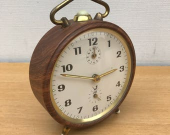 Alarm clock JAZ Metal Imitation antique wood & gold + Vintage Metal feet