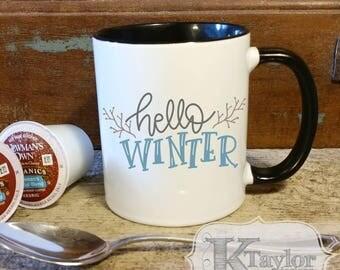 Coffee Mug, Hot Chocolate Mug, Tea Mug, Hello Winter, Holiday Mug, Season Mug, Gift Idea, Christmas Gift, Cute Holiday Mug, Christmas Mug