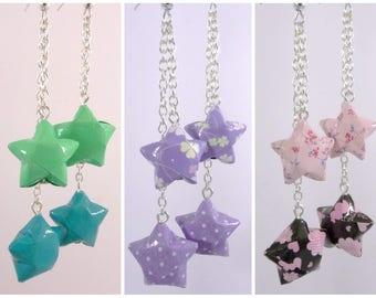 Stars Origami Duo Celeste green - purple - pink