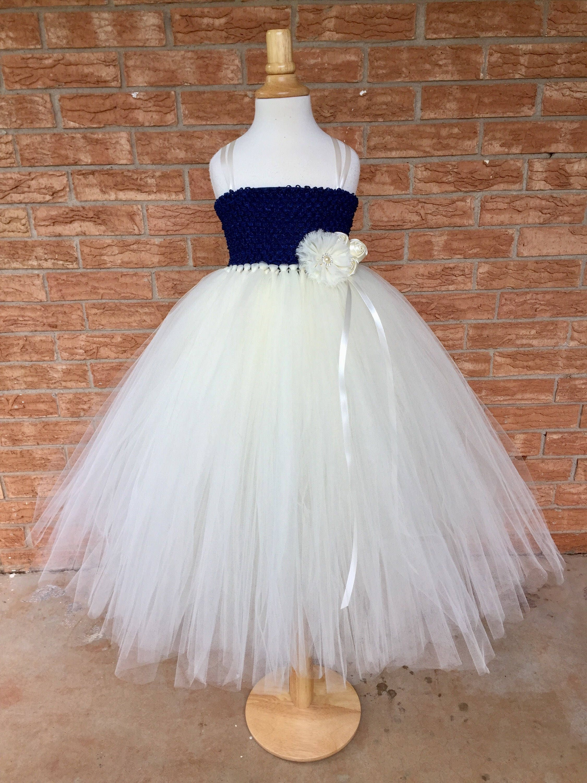 Navy And Ivory Dress Flower Girl Dress Blue And Ivory Tutu Dress