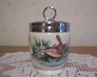 Royal Worcester Egg Coddler Finches and Wren Pattern, England