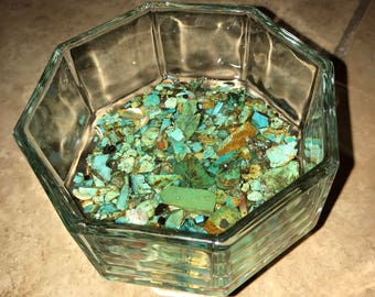 Real turquoise lined glass dessert dish set